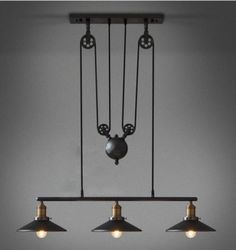 Vintage RH Loft Pulley Pendant ceiling Lights Wire Lamps Hanging Lighting #cz #Modern