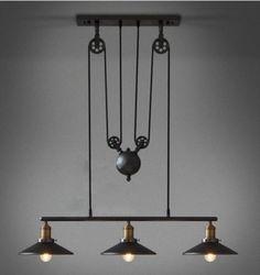 Vintage RH Loft Pulley Pendant ceiling Lights Wire Lamps Hanging Lighting #cz #Modern