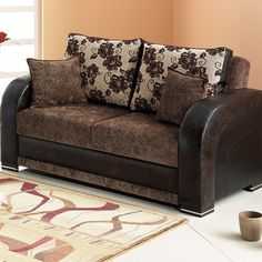 Sofa Beds Faux Leather Sofa Bed With Storage And Cup Holders Home - Fina-leather-sofa-by-athomeusa