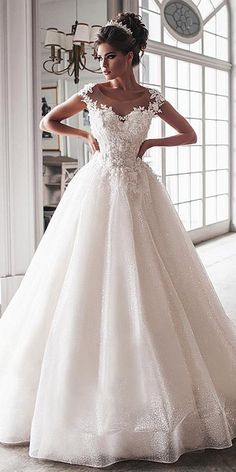Beautiful Tulle Jewel Neckline Floor-length Ball Gown Wedding Dresses With  Lace Appliques   Beaded db8cde67fd3b