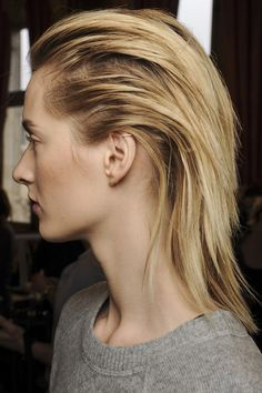 As seen at: Balmain   Apply some wet-look gel spray at the roots and brush straight back for a Balmain-inspired finish.  #HairToFallFor