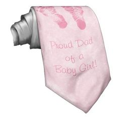 "A personalized baby announcement tie for dad in pink with cute little newborn footprints and custom text 'Proud dad of baby girl!"" Perfect gift for new fathers. $29.95 http://www.zazzle.com/cute_baby_girl_footprints_birth_announcement_tie-151184592788523277?rf=238835258815790439 #giftsfordad #birthannouncements #itsagirl"