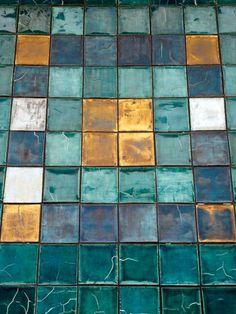 I love the combination of these golden and turquoise tiles - ideal for a kitchen maybe?
