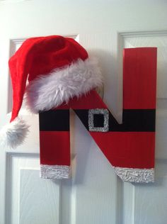 "16"" SANTA Monogram Wreath, Personalized Christmas Monogram, Christmas Door Decor on Etsy, $50.00"