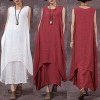 Kup si ZANZEA Vintage Women Summer Sleeveless Layers Linen Kaftan Maxi Dress Long Tops za Wish - Nakupování je zábava