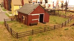 Whittemore HO Scale Train Table - Farm Layout - Barn & fence install - June 2014