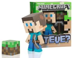 Minecraft Steve Vinyl Toy 6 Inches Tall with Dirt Block in Collectors Box $54.95
