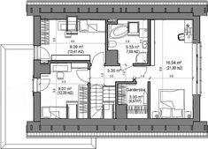 Proiect casa mica cu mansarda de 115 mp + fotografii cu interiorul | CasaPost.ro Mica, Floor Plans, Interior, Plants, House, Indoor, Interiors, Floor Plan Drawing, House Floor Plans