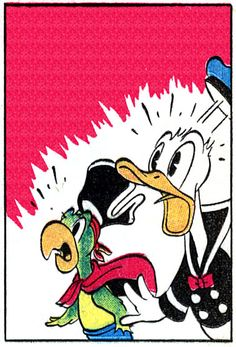 Donald is shocked   From Donald Duck Finds Pirate Gold by Carl Barks, 1942.