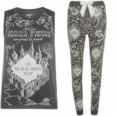 Ladies HARRY POTTER Pyjamas Primark HOGWARTS MARAUDERS MAP GREY