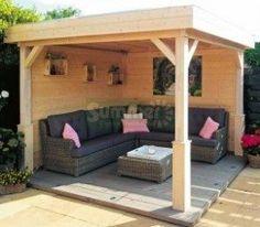 Wooden Gazebo 368 - Pent Roof, Fully Boarded Walls