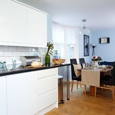 Blue and white open-plan kitchen-diner | Kitchen decorating | Style at Home | Housetohome.co.uk