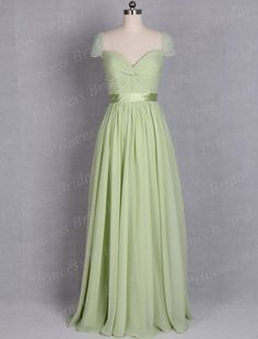 Formal-Party-Gown-Popular-Sheath-V-Neck-Pleat-Floor-Length-Long-Flowy-Chiffon-Cap-Sleeve-Dress.jpg (700×922)