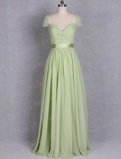Formal-Party-Gown-Popular-Sheath-V-Neck-Pleat-Floor-Length-Long-Flowy-Chiffon-Cap-Sleeve-Dress.jpg (700×922)