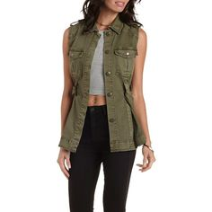 Charlotte Russe Olive Refuge Collection Belted Utility Vest by Refuge... ($43) ❤ liked on Polyvore featuring outerwear, vests, olive, military vest fashion, olive green military vest, pocket vest, charlotte russe and military vest