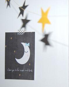 """i love you to the moon and back"" carte postale illustrée format 10 x 15 o si chou : Cartes par o-si-chou"
