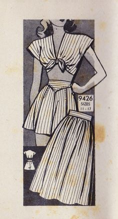 """1940s Pin-Up Style Playsuit,  Midriff Top, Shorts and Skirt Vintage Sewing Pattern, Marian Martin 9426 bust 29"""" uncut"""