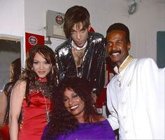 Mayte Garcia (ex wife of Prince), Prince Chaka Khan and Larry Graham (Sly and the Family Stone-G.S) backstage at 'Irving Plaza' on April in New York City - photo by Kevin Mazur © Getty Images. Mayte Garcia Prince, Prince And Mayte, My Prince, Larry Graham, Jazz, The Artist Prince, Chaka Khan, Hip Hop, Prince Purple Rain