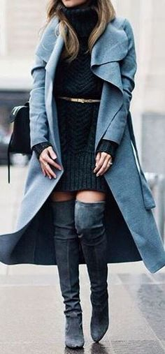 7aba4469a5c Pam Hetlinger is wearing thigh high boots with a gorgeous pale blue maxi  coat…