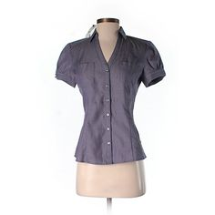 Express Short Sleeve Button Down Shirt ($22) ❤ liked on Polyvore featuring tops, purple, short-sleeve shirt, purple button up shirt, express shirts, short sleeve button up shirts and cotton shirts