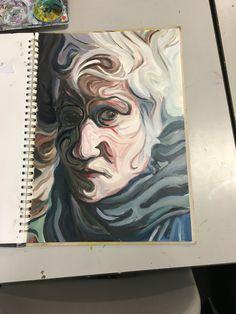 GCSE Art - Nikos Gyftakis oil paint response A Level Art Sketchbook, Sketchbook Ideas, Nikos Gyftakis, Ap Art, Distortion, Work Inspiration, Figurative Art, Sketchbooks, Art Boards