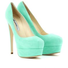Brian Atwood Hamper 150 Marilyn Suede Platform Pumps ❤ liked on Suede Platform Pumps, High Heel Pumps, Pumps Heels, Crazy Shoes, Me Too Shoes, Fancy Shoes, Mint Green Heels, Mint Shoes, Slippers