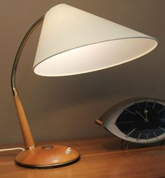 Danish Modern  Desk Table Lamp Teak Mid century Gooseneck Eames Selig Era via Ebay