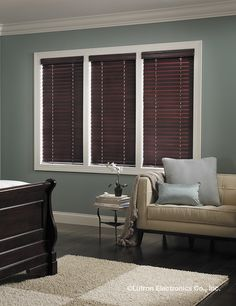 Lutron Wood blinds with Intelligent Tilt Alignment provide independent control of blind height and slat angle, giving privacy while preserving your view. They are available in aluminum or wooden slats with the option of adding decorative tapes. Bedroom Decor Lights, Bedroom Lighting, Wood Blinds, Curtains With Blinds, Window Coverings, Window Treatments, Store Venitien, Modern Blinds, Interior Decorating