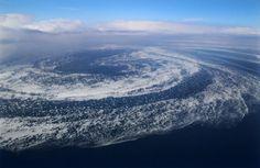 日本北海道出现壮观流冰大漩涡 十分罕见(图)