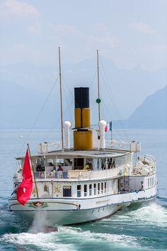 S/S Simplon - ABVL | Association des amis des bateaux à vapeur du Léman Swiss Chalet, Paddle Boat, Super Yachts, Motor Yacht, Steamer, Sailing Ships, Nautical, Ocean, Boats