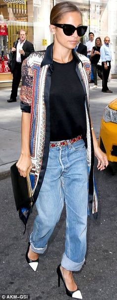 The calm before the storm: Earlier in the day the daughter of Lionel Richie had emerged in a casual ensemble