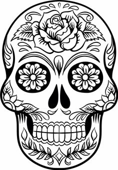 Sugar skull coloring pages are available largely for those who love it. You know that in western culture, sugar skull is very famous. Skull Coloring Pages, Coloring Book Pages, Free Coloring, Adult Coloring, Coloring Sheets, Sugar Skull Tattoos, Sugar Skull Art, Sugar Skulls, Mexican Skull Tattoos