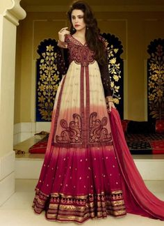 Riveting Cream And Maroon Faux Georgette Shaded Black And Red Salwar Suit