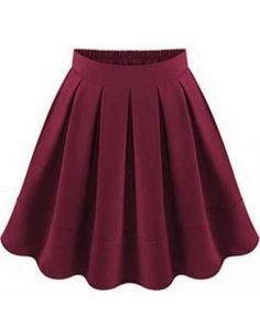 Wine Red Flare Pleated Skirt pictures