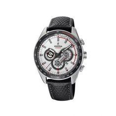 Ανδρικό ρολόι FESTINA F20202/1 με χρονογράφο ταχύμετρο, 24ωρη ένδειξη, ημερομηνία, ασημί καντράν με γκρι δερμάτινο λουρί | ΤΣΑΛΔΑΡΗΣ στο Χαλάνδρι #Festina #ασημι #λουρι #ρολοι Chronograph, Festina, Watches, Leather, Accessories, Clock, Sports, Men, Clocks