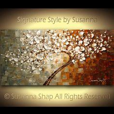 Gran árbol blanco contemporáneo abstracto flor de cerezo pintura al óleo espátula gruesa textura ORIGINAL por Susanna listo para colgar 48 x 24