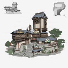 ArtStation - building, pang p Fantasy House, Fantasy World, Fantasy Art, Chinese Architecture, Concept Architecture, Architecture Office, Futuristic Architecture, Landscape Concept, Fantasy Landscape