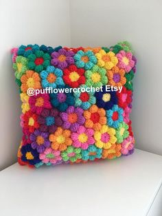 Excited to share this item from my shop: Cushion couch pillow rainbow crochet flowers, large hand made pillow 27 inch from corner to corner, stunning Crochet Puff Flower, Crochet Flower Patterns, Crochet Blanket Patterns, Crochet Flowers, Crochet Blocks, Afghan Patterns, Knitting Patterns, Crochet Cushions, Crochet Pillow