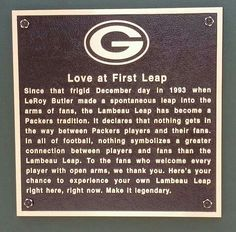 This is such a cool tradition....only at Lambeau Field