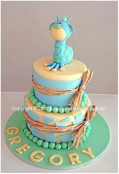 Baby Giraffe Christening Cake, Christening Cakes Sydney, Christening Cake Designs, Birthday Cakes, Kids Cakes, Baby Christening Cake, NSW