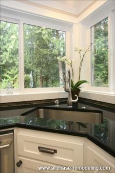 16 Corner Sink With Windows Ideas Corner Sink Corner Sink Kitchen Kitchen Remodel