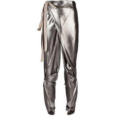 Preowned Thimister Couture Draped Metallic Silver Wrap Harem Pants ($1,027) ❤ liked on Polyvore featuring pants, jodhpur pants, silver, drape pants, pleated pants, thimister, pleated trousers and draped harem pants