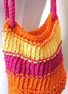 Knitted Bag  Bright Loom Knit Cotton Tote Bag by sparkleknit