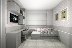 Dormitório infantil para menina, para apartamento de jovem casal. Painéis de MDF alinhados na frente da coluna permitem melhor acomodação da cama no ambiente e integram a bancada. Projeto desenvolvido em parceria com a arquiteta Sylvia Akai.