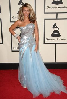 Beyoncé wearing Elie Saab at the 50th Annual GRAMMY Awards in 2008
