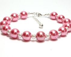 Two Sizes Pearl Dog Collar. Pearl Cat Collar. Hot Pink and White Pearl Collar. #beads