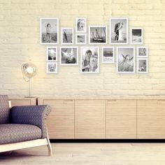 15er Set Bilderrahmen Modern Weiss Massivholz 10x15 bis 20x30 cm inklusive Zubehör zur Gestaltung einer Collage / Bildergalerie – Bild 3