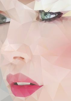 """Sunday"" - Angie Niebles {delicate geometric beautiful female face facets graphic design illustration woman portrait} <3 http://angieniebles.com/portfolio .."