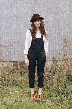 overalls + hat