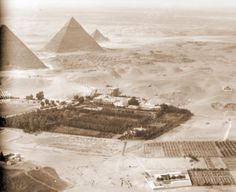 Ariel view of Mena House and the Pyramids, circa 1940's